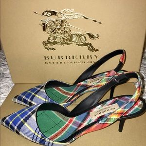Burberry Annice Sling Back Tartan Shoes Size 39